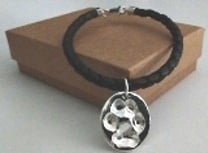 Pawprint Bracelet with Leather Cord