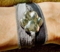 Pawprint Bracelet with Silk Ribbon