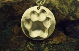 Paw Print Large Circle Pendant