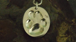 Paw Print Large Oval Pendant