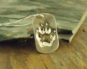 Paw Print Small Dog Tag Pendant