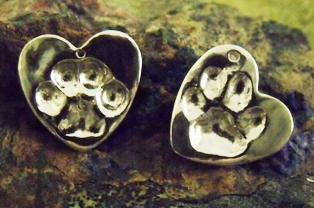 Paw Print Small Heart Pendant